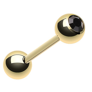 Gold Plated Glass-Gem Ball Barbell Tongue Ring