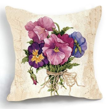 Luxury Flower and Vase Cushion Cover Pillowcase Bed Car Hotel Printed White Plant Home Decor Sofa Vintage Modern Cushion PC203