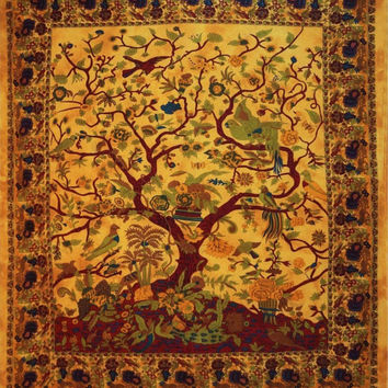 Queen yellow tree of life tapestry Mandala Tapestry-Indian Wall Hanging Bohemian Hippie Bedspread Throw home Decor