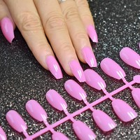 HOT Coffin False Nails Candy Purple Pink Ballerina Full Cover Fake Nails DIY Acrylic Nail Art Tips 6 Colors