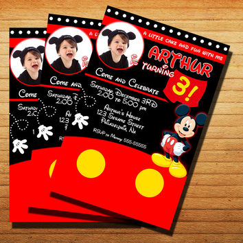 Disney Mickey Mouse Birthday Invitation Cards 4x6, 5x7, Customized