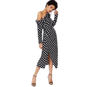 Women Party Long Dress Foldover Knot Asymmetric Shoulder Polka Dot Dress Black and White Long Sleeve Pencil Dress