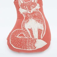 Woodblock Fox Cushion - Urban Outfitters