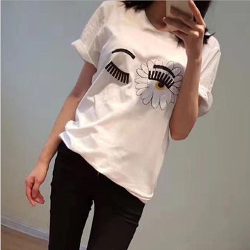 2017 summer new sun petal big eyes embroidery sequins white wild t-shirt short-sleeved woman