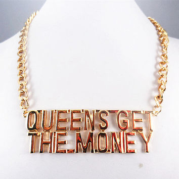Queen Get The Money Necklace, Gold Chunky Chain Necklace, Bridesmaids Jewelry, Friendship, Graduation Birthday Gift / Trending AccessoriesNC