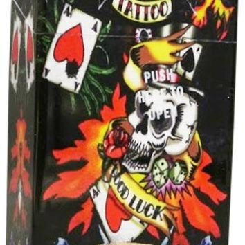 Auto Open Cigarette Case for 100's Skulls Good Luck Tattoo Hard Non Crush Plastic