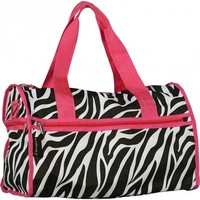 """Zebra Carry On Duffle Bag w/ Hot Pink Trim 19"""" Inches"""