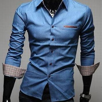 Denim Cotton Turn-down Collar Pockets Long Sleeve Shirt Dark Blue Light Blue
