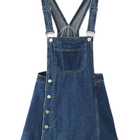 Blue Side Button Overall Mini Dress