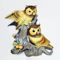 Owl Figurine  - Pair of Owls in an Oak Tree - Vintage Porcelain Bisque - Owl in Flight - UOGC Japan