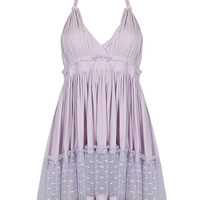 Light Purple Lace Up Backless Halter Dress