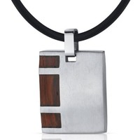 Suave and Macho: Stainless Steel with Rosewood finish Square Pendant Necklace for Men