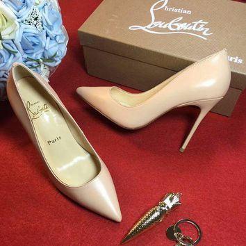 DCCK2 Christian Louboutin CL 100mm Patent Leather High Heels W01