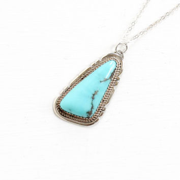 Vintage Sterling Silver Blue Turquoise Pendant Necklace - Retro 1960s Native American Tribal South Western Statement Gemstone Jewelry