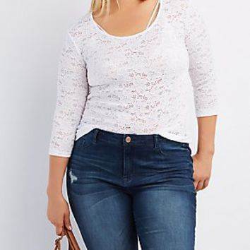 PLUS SIZE FLORAL LACE TOP