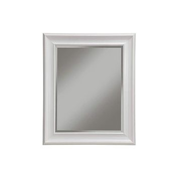 Polystyrene Framed Wall Mirror With Beveled Glass, White