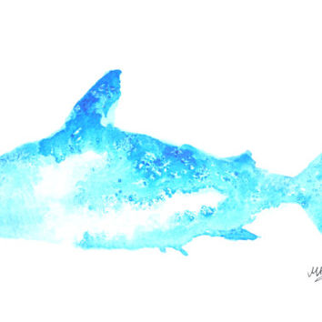 Watercolor Shark Painting – Original Watercolor Art, Unmounted, Nursery, Wall Decor,  Home Decor, Animal Paintings - by MABartStudio