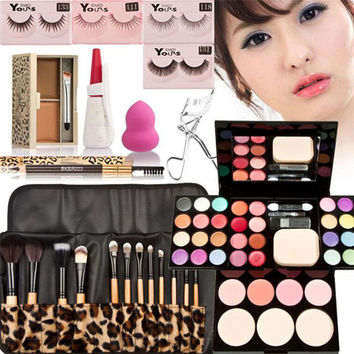 Love Beauty Female  Makeup Kits Gift Set Eyeshadow Foundation Blusher Powder Lip Gloss 12PC Brushes 160811 Drop Shipping