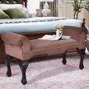 """45"""" Microfiber Rolled Arm Bed Bench Seat"""