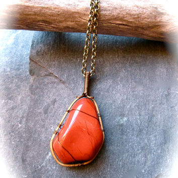 Red Jasper Necklace Wire Wrapped Bronze, Tumbled Gemstone Pendant on Bronze Iron Chain, Wicca Pagan Healing Talisman, Christmas Red
