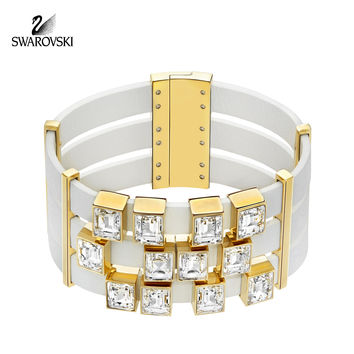 Swarovski Clear Crystal Leather Gold Plated Bracelet ELEMENT #5197106