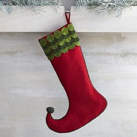 Tiding Red and Green Felt Dot Stocking