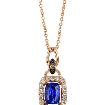 Levian 14K Strawberry Gold Blueberry Tanzanite Pendant with Chocolate and Vanilla Diamonds