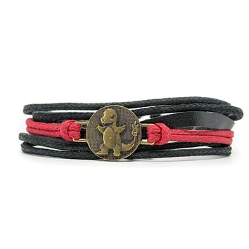 Pokemon Balthazar Rope and Leather Adjustable Unisex Charm Bracelet
