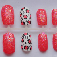 Coral Glitter and Cheetah or Leopard Fake Nails - False, Artificial, Acrylic, Press-On