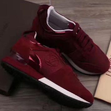 【Louis Vuitton】LV Woman Trending Fashion Casual Print Running Shoes Wine red G