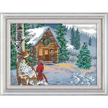 Cross-stitch embroidery kits, cross stitch canvas for embroidery cross stitch 14CT 28x20cm print Winter huts