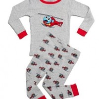 "Leveret Little Boy ""Helicopter"" 2 Piece Pajama 100% Cotton (Size 12M-8 Years)"