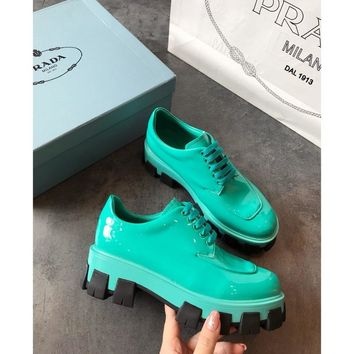 Prada Green Monolith Patent Leather Derby Shoes - Best Online Sale