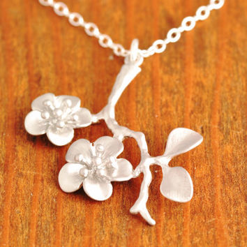 Cherry Blossom Necklace, flower necklace, floral necklace, branch necklace, botanical jewelry, christmas gift, tree of life, N21
