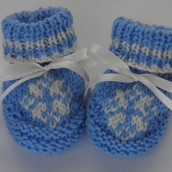 Baby Bootie Hand Knit Blue with White Snowflake Newborn