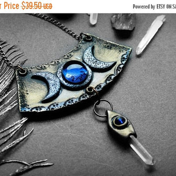 ON SALE Triple Goddess Necklace, Clay goddes necklace, pagan symbol jewelry, moon goddess, celtic amulet pendant, ancient talisman, wiccan p