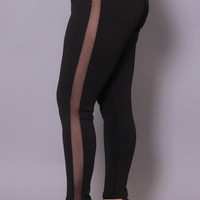 Plus Size Scuba Mesh Leggings - Black