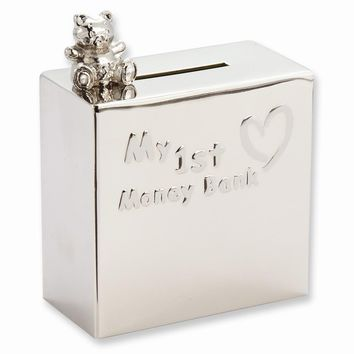 Nickel-plated Baby My 1st Money Bank - Engravable Personalized Gift Item