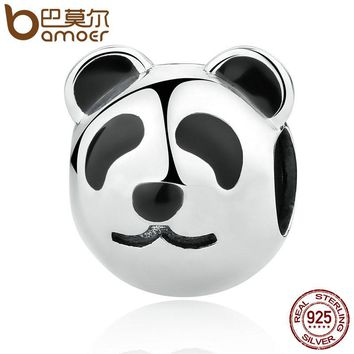 Genuine 100% 925 Sterling Silver Cute Fat Panda Animal Charm fit Bracelet for Women Fashion Jewelry SCC098