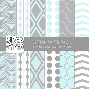 "Tiffany Blue Gray Digital Paper 12 Pack- 12""x12"" Tiffany Blue and Gray Themed Set - Digital Scrapbooking"