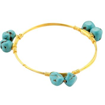 Crystal Wire Bangle Turquoise Stones