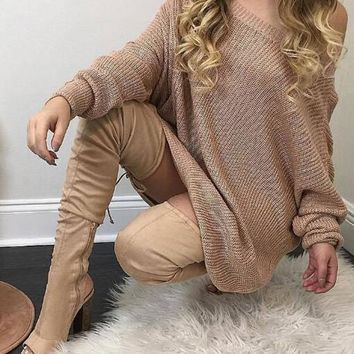 Streetstyle  Casual Apricot Plain Round Neck Long Sleeve Mini Dress
