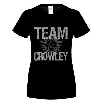 GILDAN  Supernatural Team Crowley Man T Shirt Popular Customized Tops women's short Sleeve Round Neck Tees Dad Unique Clothing