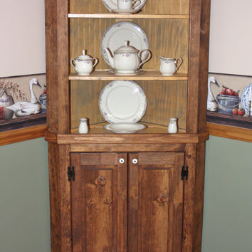 Hutch, Curio, Corner, Rustic, Primitive, China, Cabinet, Shabby, Cottage, Chic