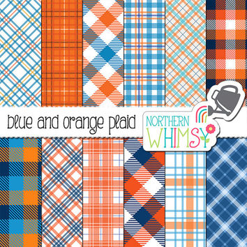 Blue and Orange Plaid Digital Paper – scrapbook paper with plaid patterns & buffalo checks - boy digital paper - printable - commercial use