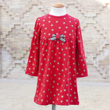 Dress and Blouse Girls pdf pattern Stars long sleeve,ideal Christmas,12 months to 6 years,Christmas dress,girl dress pattern,blouse pattern