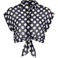 Navy polka dot crop tie front shirt