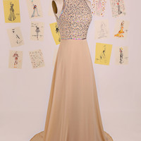 Sweet 16 Champagne Halter Beading Open Back Long Prom Dress/Chiffon Prom Dress Long/Backless Prom Dress/Vintage Prom Dresses 2015 DAF0112