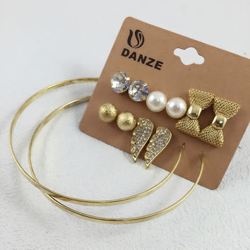 6 Pairs Fashion Gold Plated Crystal Stud Earrings Pack Set For Women Girls Bow Angle Wings Shape Metal Ball Pearl Jewelry