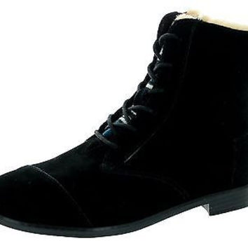 Toms Apla Boots Black Water Resistant Suede Textile 10006200 Womens 12